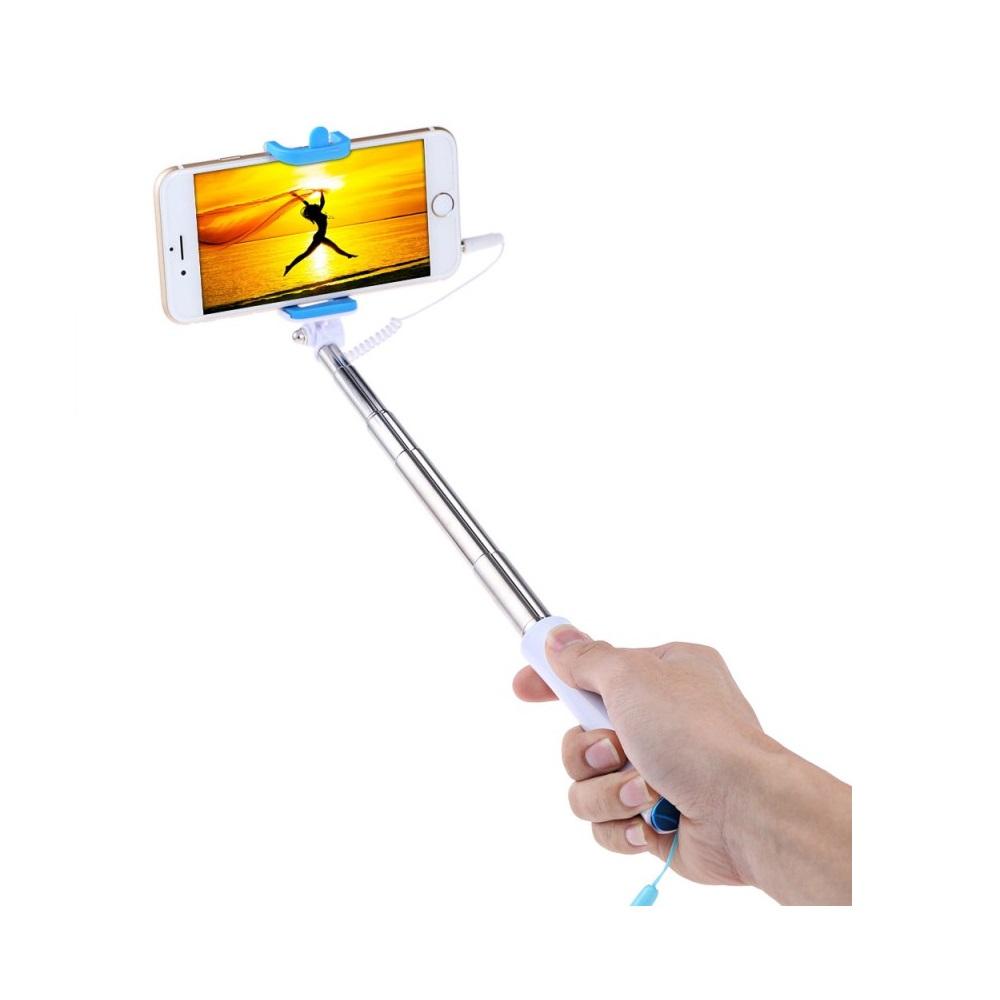 Selfie tyč s tlačítkem - barva modrá
