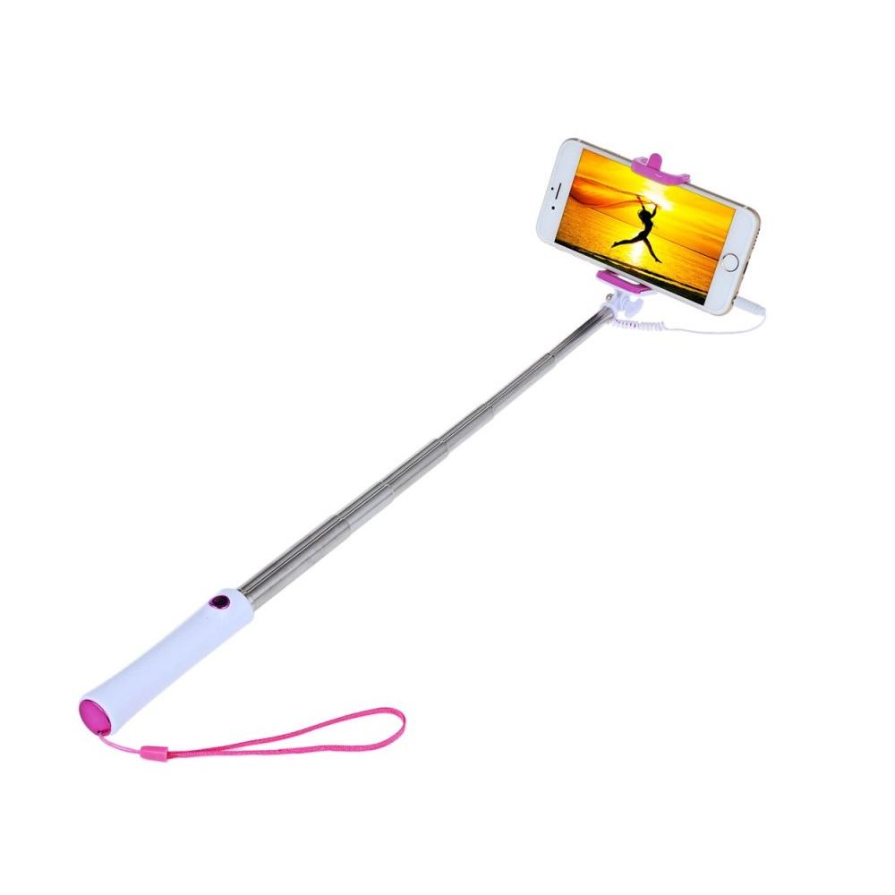 Selfie tyč s tlačítkem- barva růžová