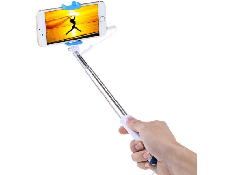 Selfie tyč s tlačítkem pro iPhone i Android | barva modrá