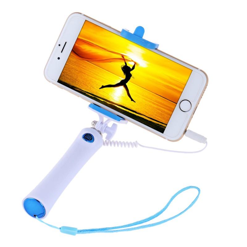 Selfie tyč s tlačítkem s mobilem - modrá
