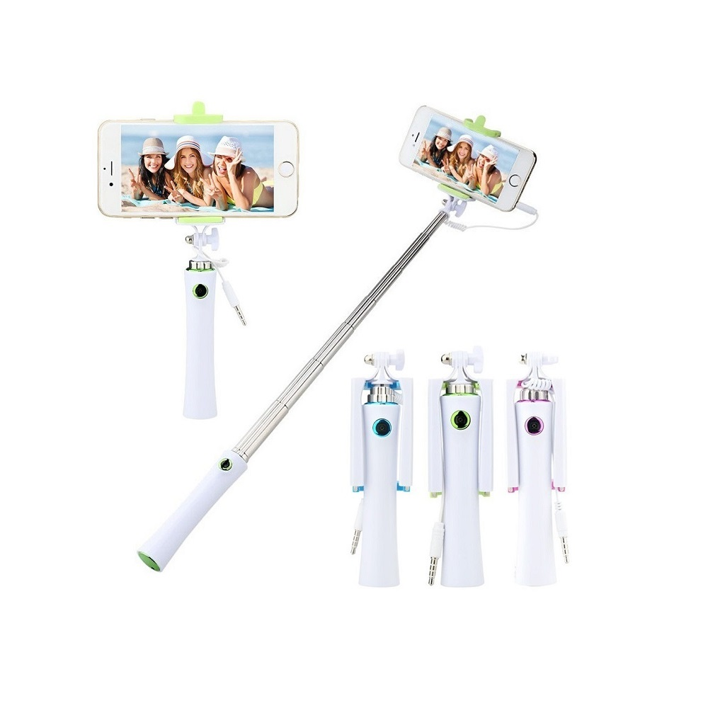 Selfie tyč s tlačítkem pro iPhone i Android   barva modrá, růžová, zelená