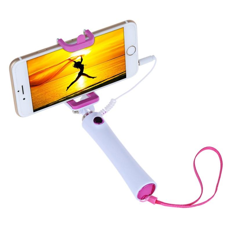 Selfie tyč s tlačítkem s mobilem - růžová