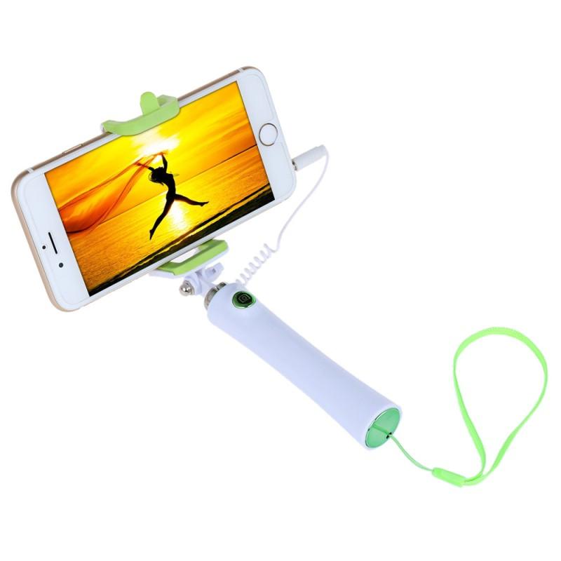 Selfie tyč s tlačítkem s mobilem - zelená