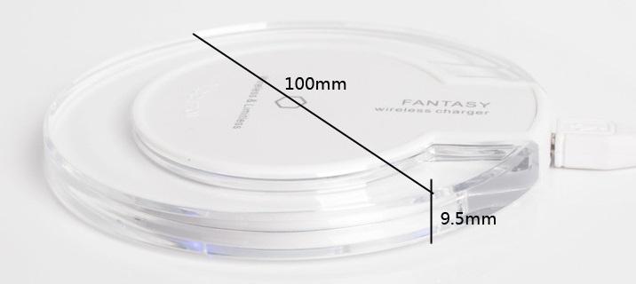 Bezdrátová nabíječka pro mobilní telefony Qi Wireless - rozměry