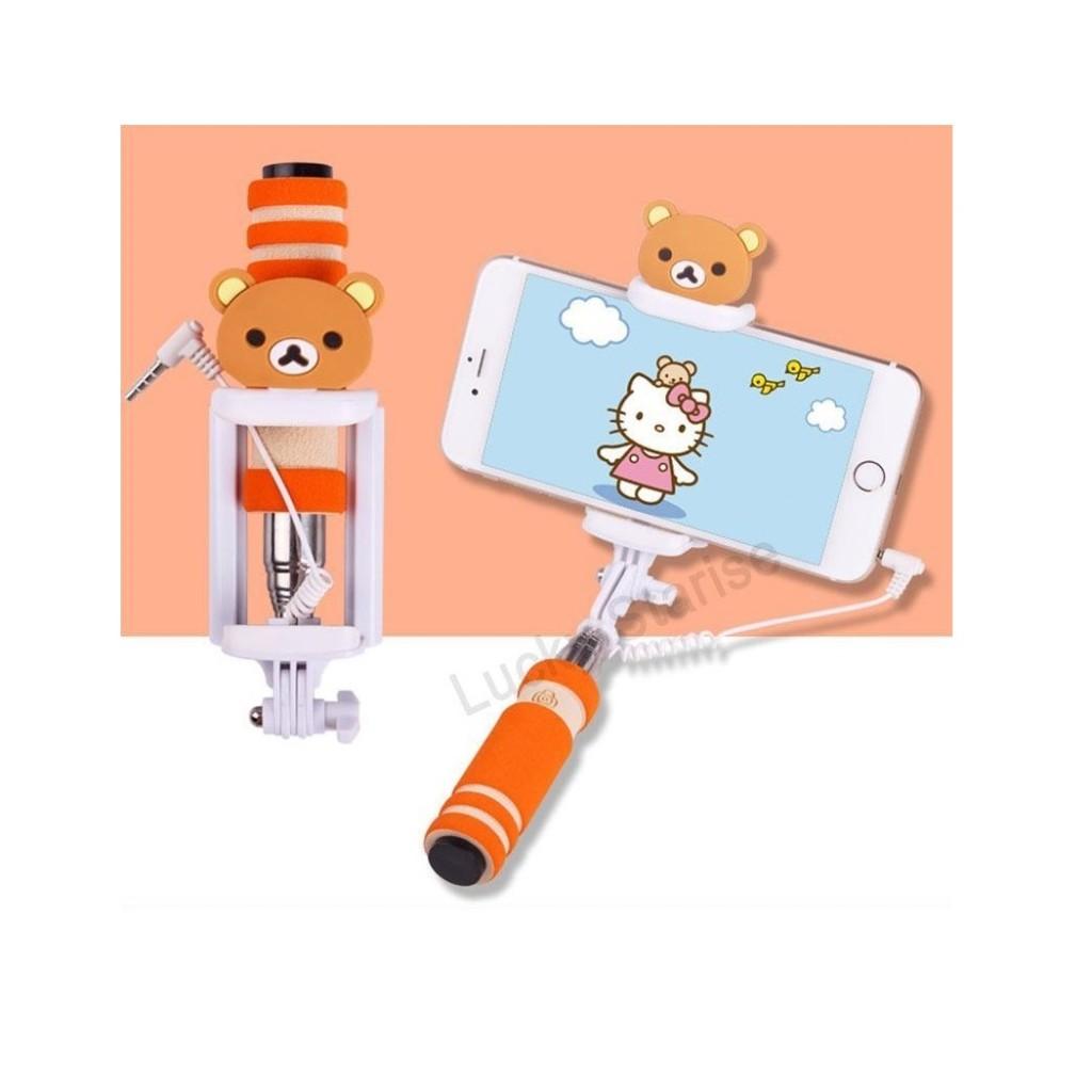 Selfie tyč s tlačítkem s dětskými motivy pro iPhone i Android . Medvídek