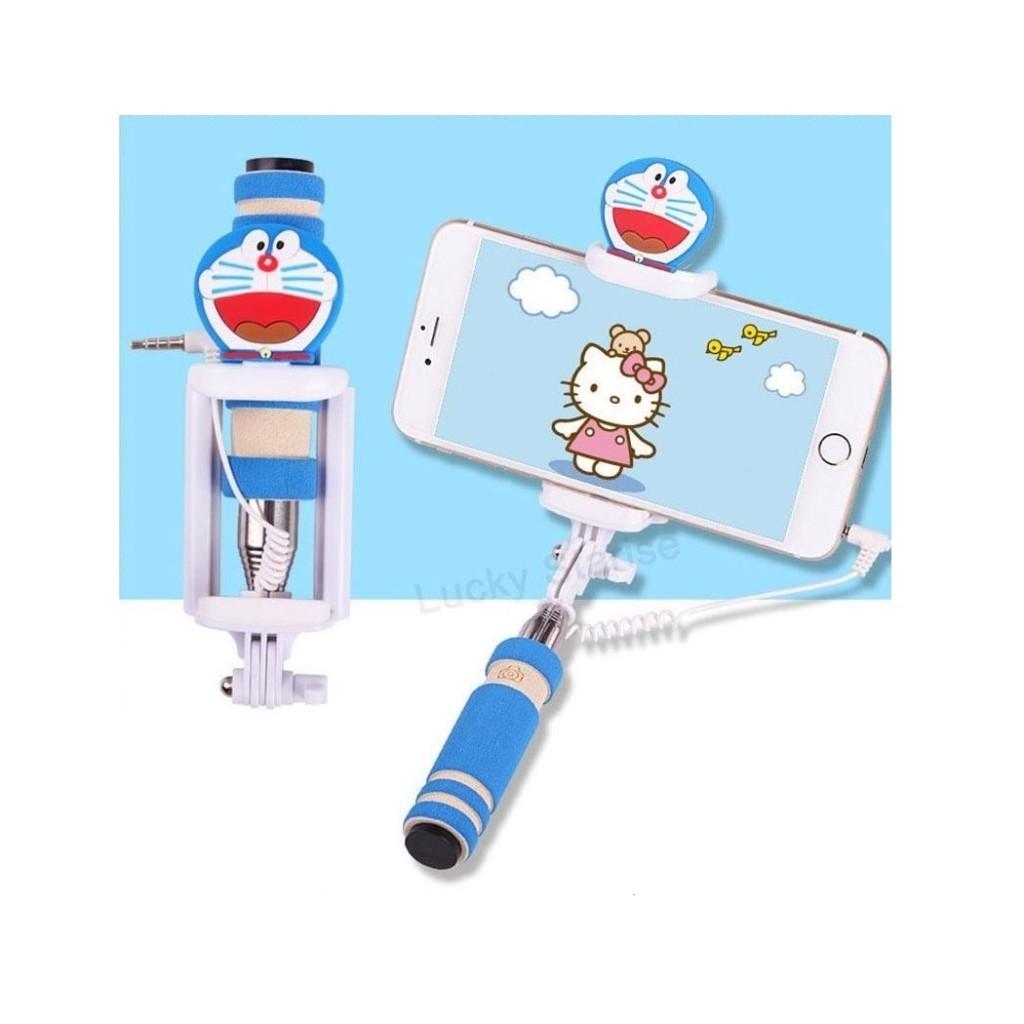 Selfie tyč s tlačítkem s dětskými motivy pro iPhone i Android - Kočička