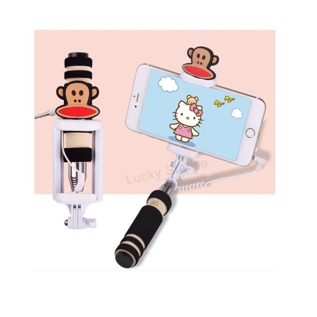 Selfie tyč s tlačítkem s dětskými motivy pro iPhone i Android - Opička