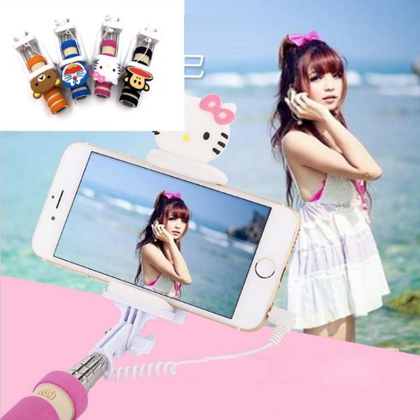 Selfie tyč s tlačítkem s dětskými motivy pro iPhone i Android s dítětem