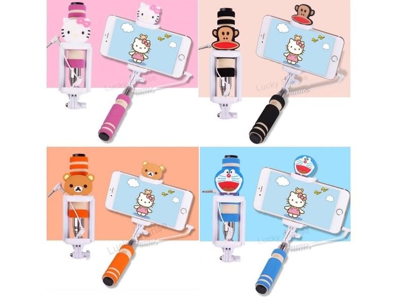 Selfie tyč s tlačítkem s dětskými motivy pro iPhone i Android - všechny čtyři