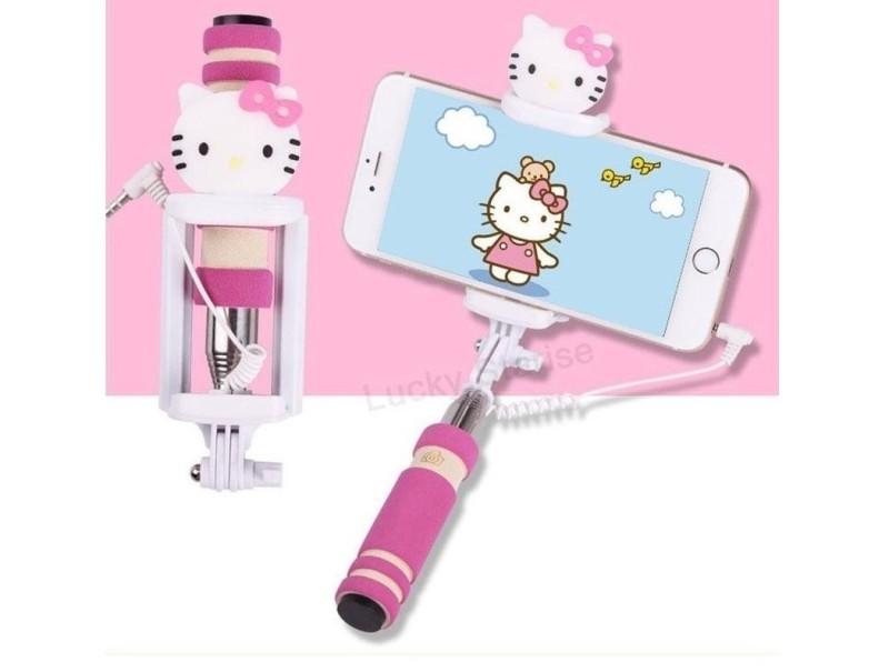 Selfie tyč s tlačítkem s dětskými motivy pro iPhone i Android Varianta: Hello Kitty
