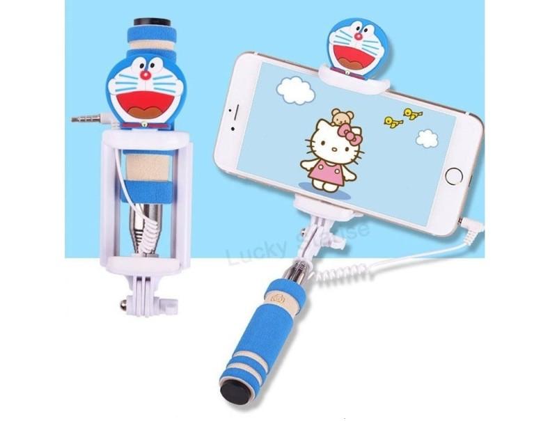Selfie tyč s tlačítkem s dětskými motivy pro iPhone i Android Varianta: Kočička