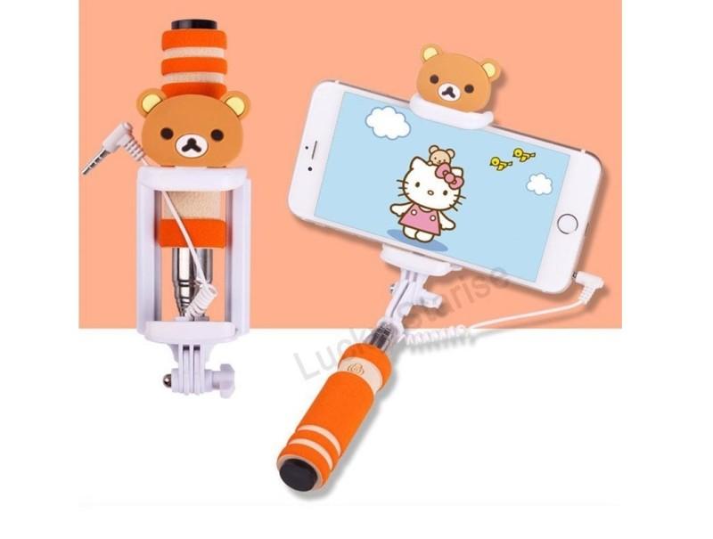 Selfie tyč s tlačítkem s dětskými motivy pro iPhone i Android Varianta: Medvídek