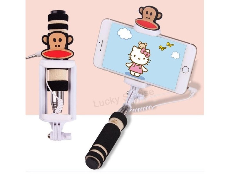Selfie tyč s tlačítkem s dětskými motivy pro iPhone i Android Varianta: Opička