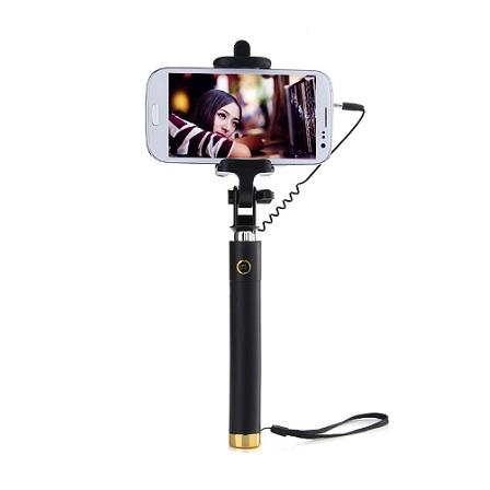 Luxusní selfie tyč s tlačítkem pro iPhone i Android | barva černo-zlatá